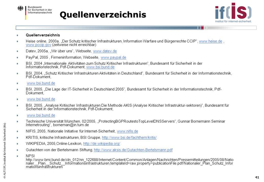 AUTOR, Institut für Internet-Sicherheit (ifis) 41 Quellenverzeichnis Quellenverzeichnis Heise online, 2000a, Der Schutz kritischer Infrastrukturen, In
