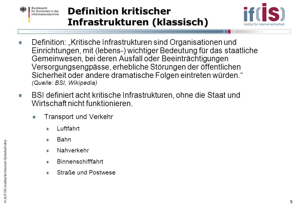 AUTOR, Institut für Internet-Sicherheit (ifis) 5 Definition kritischer Infrastrukturen (klassisch) Definition: Kritische Infrastrukturen sind Organisa