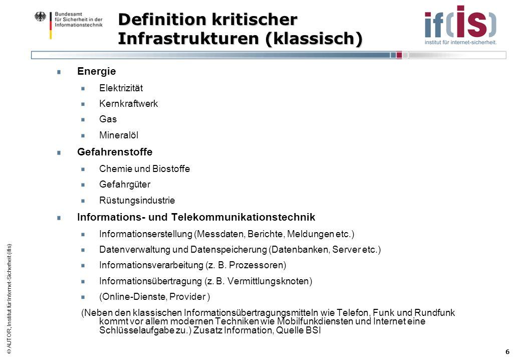 AUTOR, Institut für Internet-Sicherheit (ifis) 6 Definition kritischer Infrastrukturen (klassisch) Energie Elektrizität Kernkraftwerk Gas Mineralöl Ge