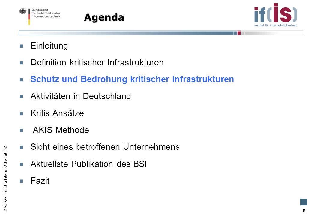 AUTOR, Institut für Internet-Sicherheit (ifis) 8 Einleitung Definition kritischer Infrastrukturen Schutz und Bedrohung kritischer Infrastrukturen Akti