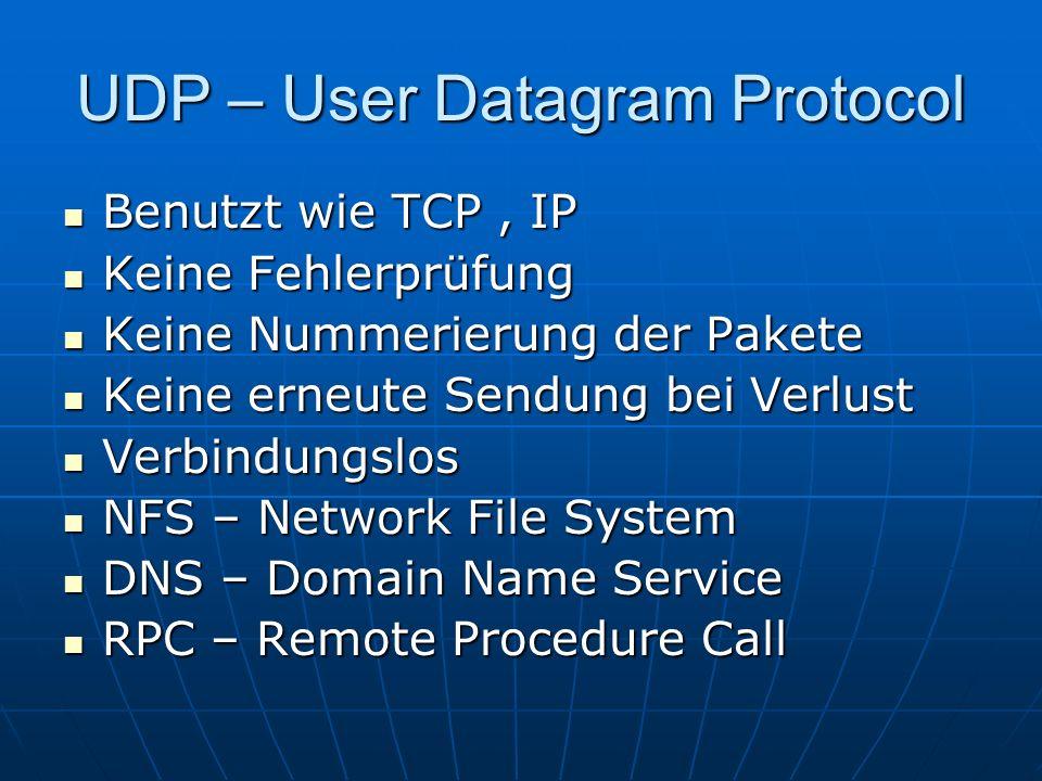 UDP – User Datagram Protocol Benutzt wie TCP, IP Benutzt wie TCP, IP Keine Fehlerprüfung Keine Fehlerprüfung Keine Nummerierung der Pakete Keine Numme