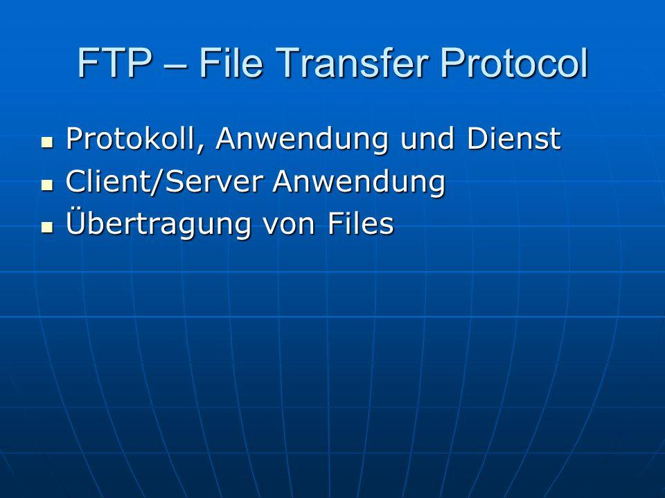 FTP – File Transfer Protocol Protokoll, Anwendung und Dienst Protokoll, Anwendung und Dienst Client/Server Anwendung Client/Server Anwendung Übertragu