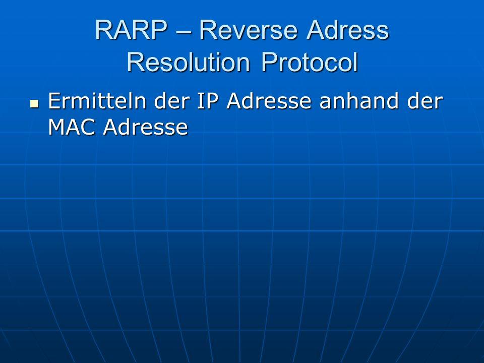 RARP – Reverse Adress Resolution Protocol Ermitteln der IP Adresse anhand der MAC Adresse Ermitteln der IP Adresse anhand der MAC Adresse