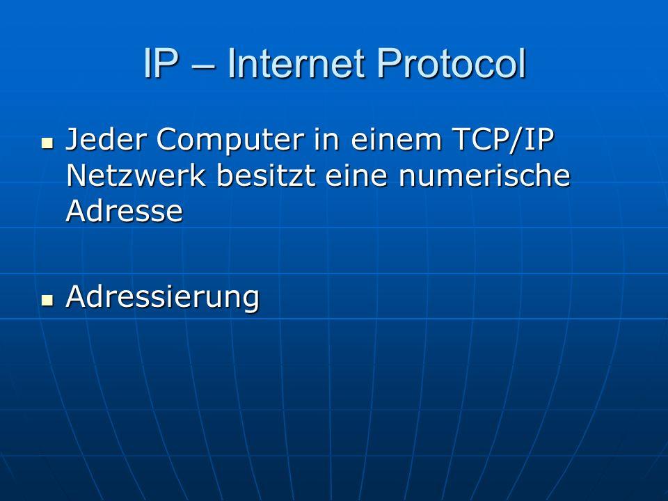 IP – Internet Protocol Jeder Computer in einem TCP/IP Netzwerk besitzt eine numerische Adresse Jeder Computer in einem TCP/IP Netzwerk besitzt eine nu
