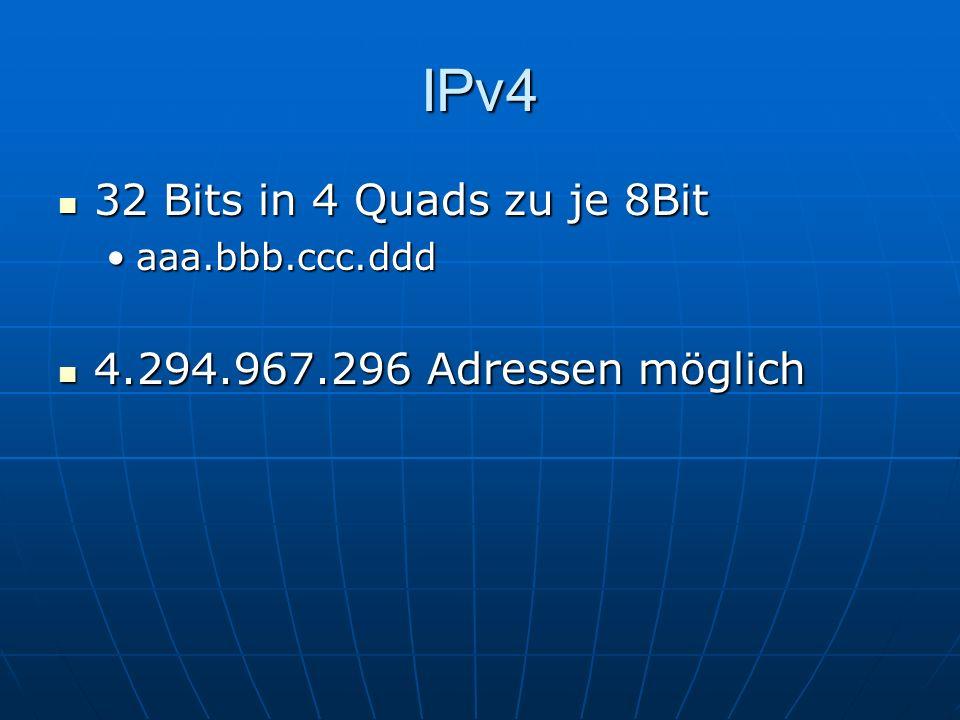 IPv6 128 bits in 8 Quads zu je 4 hexadezimalen Zahlen 128 bits in 8 Quads zu je 4 hexadezimalen Zahlen aaaa:bbbb:cccc:dddd:eeee:ffff:gggg:hhhhaaaa:bbbb:cccc:dddd:eeee:ffff:gggg:hhhh 340 Sechstrillionen Adressen möglich (340^36) 340 Sechstrillionen Adressen möglich (340^36)