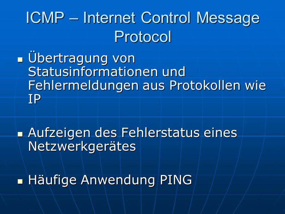 ICMP – Internet Control Message Protocol Übertragung von Statusinformationen und Fehlermeldungen aus Protokollen wie IP Übertragung von Statusinformat