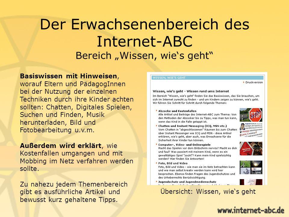 Der Erwachsenenbereich des Internet-ABC Bereich Wissen, wies geht Basiswissen mit Hinweisen, worauf Eltern und PädagogInnen bei der Nutzung der einzel