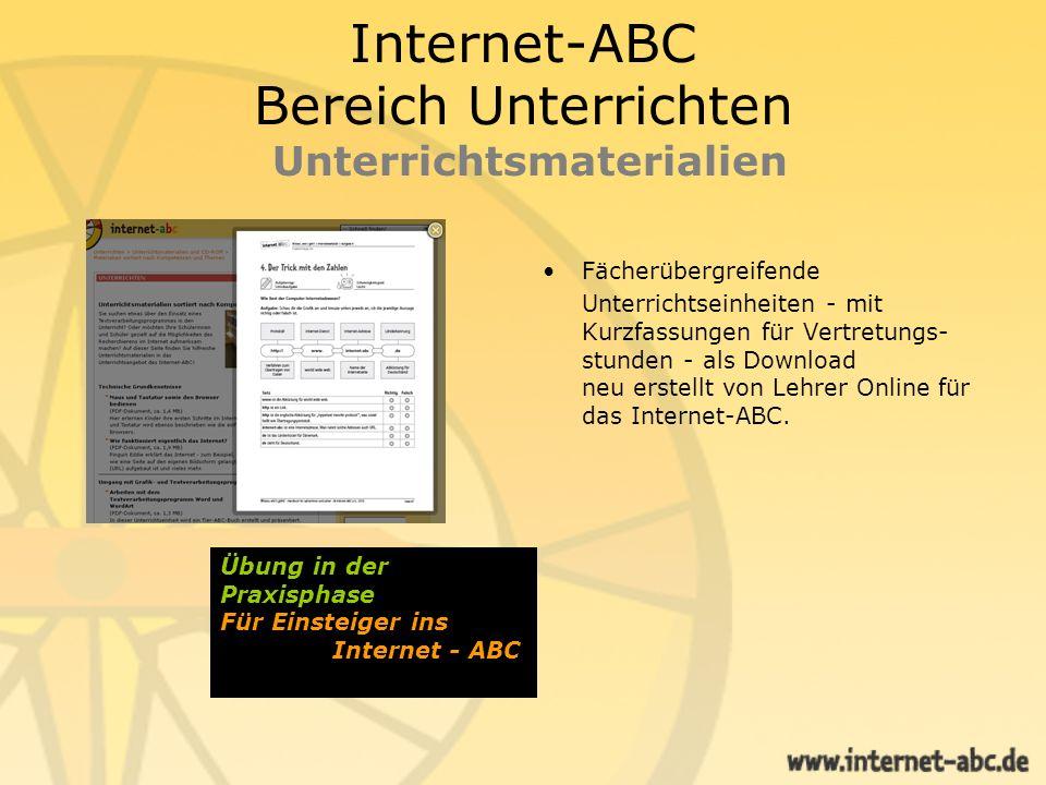 Internet-ABC Bereich Unterrichten Unterrichtsmaterialien Fächerübergreifende Unterrichtseinheiten - mit Kurzfassungen für Vertretungs- stunden - als D
