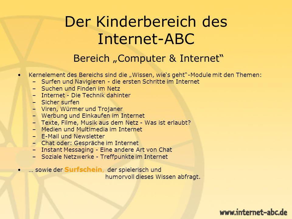 Der Kinderbereich des Internet-ABC Bereich Computer & Internet Kernelement des Bereichs sind die Wissen, wies geht-Module mit den Themen: –Surfen und
