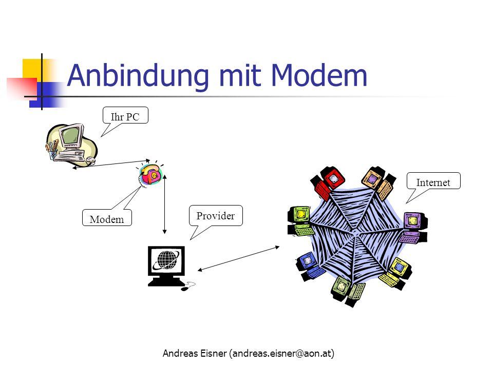 Andreas Eisner (andreas.eisner@aon.at) Anbindung mit Modem Provider Modem Ihr PC Internet
