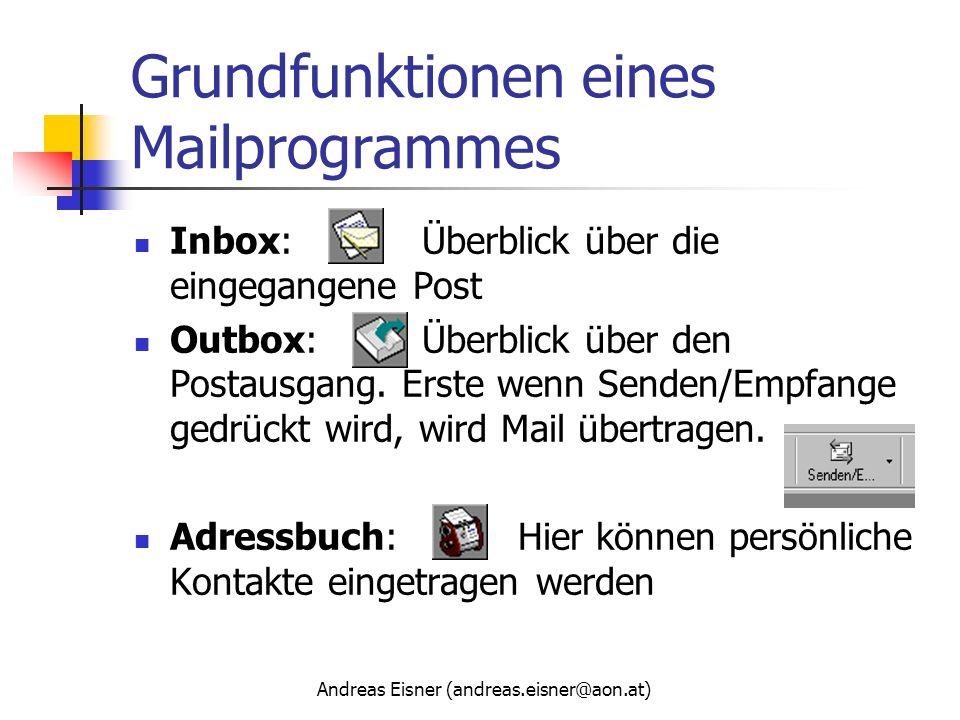 Andreas Eisner (andreas.eisner@aon.at) Grundfunktionen eines Mailprogrammes Inbox:Überblick über die eingegangene Post Outbox:Überblick über den Posta