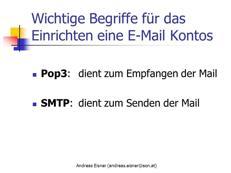 Andreas Eisner (andreas.eisner@aon.at) Wichtige Begriffe für das Einrichten eine E-Mail Kontos Pop3:dient zum Empfangen der Mail SMTP:dient zum Senden