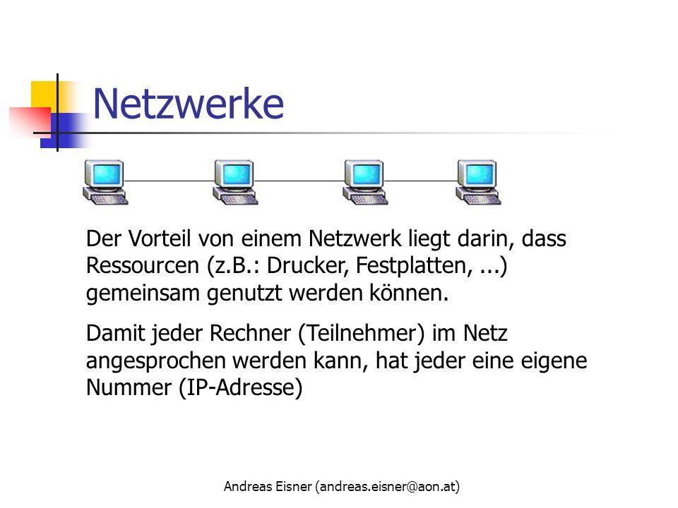Andreas Eisner (andreas.eisner@aon.at) Netzwerke Der Vorteil von einem Netzwerk liegt darin, dass Ressourcen (z.B.: Drucker, Festplatten,...) gemeinsa