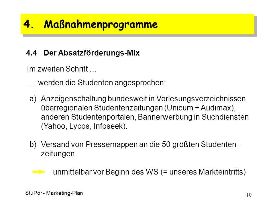 9 4. Maßnahmenprogramme 4.4 Der Absatzförderungs-Mix StuPor - Marketing-Plan Im ersten Schritt … … Direct-mailing an 6000 Großunternehmen aller Branch