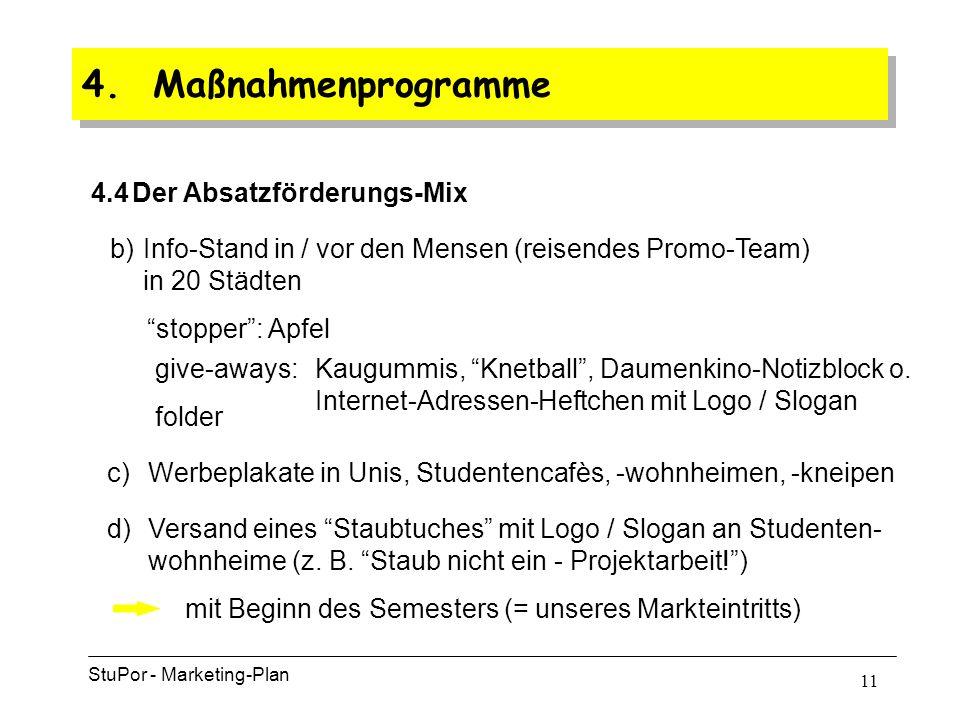 10 4. Maßnahmenprogramme Im zweiten Schritt … … werden die Studenten angesprochen: a)Anzeigenschaltung bundesweit in Vorlesungsverzeichnissen, überreg