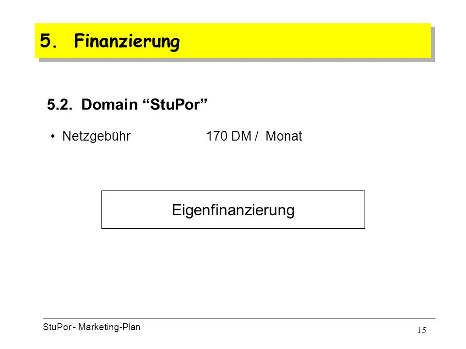 14 5. Finanzierung StuPor - Marketing-Plan 5.1.