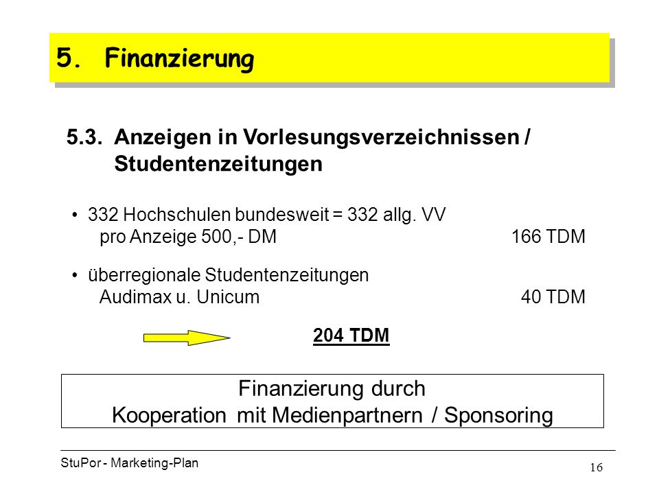 15 5. Finanzierung StuPor - Marketing-Plan 5.2.