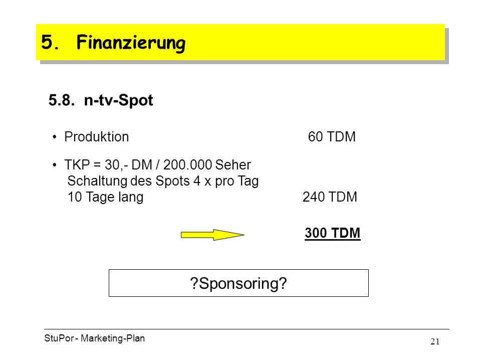 20 5. Finanzierung StuPor - Marketing-Plan 5.7.