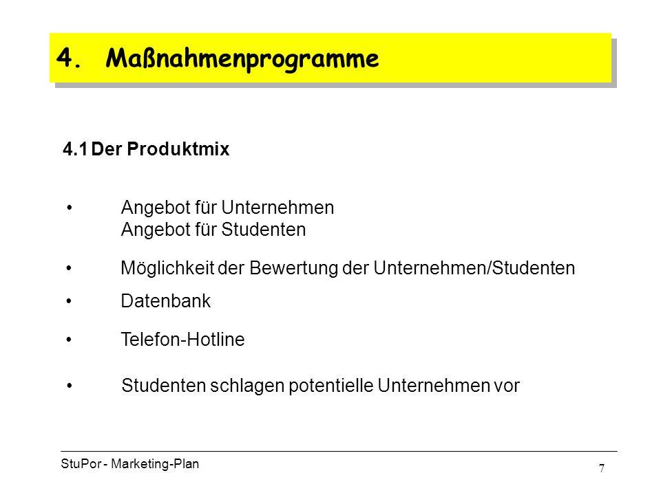 6 4. Maßnahmenprogramme 4.1 Der Produktmix StuPor - Marketing-Plan 4.2 Der Distributionsmix 4.3 Der Kontrahierungs-Mix 4.4 Der Absatzförderungs-Mix