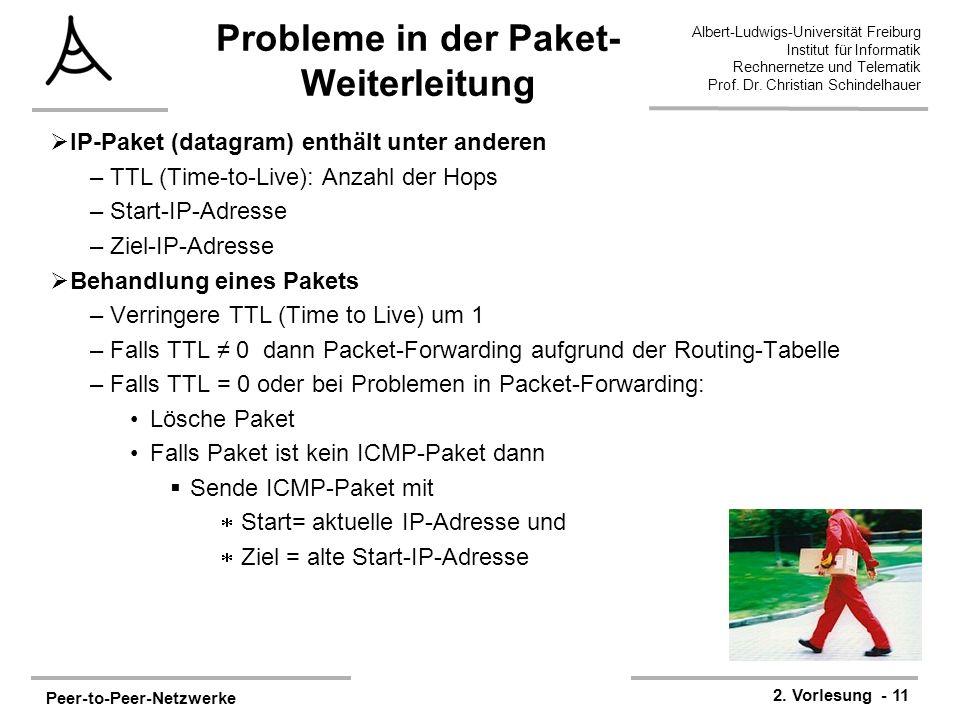 Peer-to-Peer-Netzwerke 2. Vorlesung - 11 Albert-Ludwigs-Universität Freiburg Institut für Informatik Rechnernetze und Telematik Prof. Dr. Christian Sc