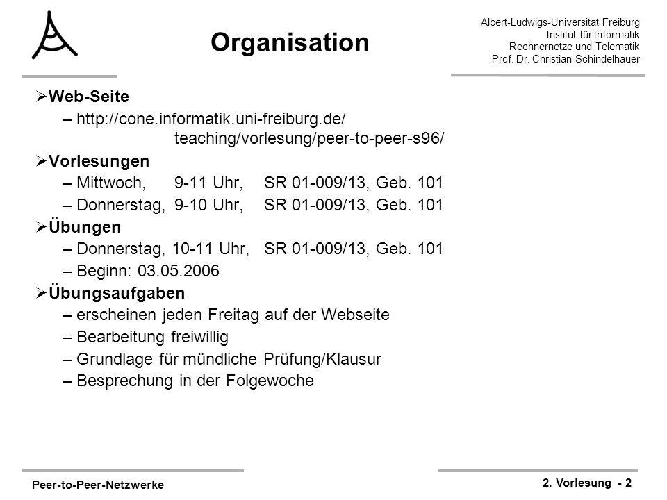 Peer-to-Peer-Netzwerke 2. Vorlesung - 2 Albert-Ludwigs-Universität Freiburg Institut für Informatik Rechnernetze und Telematik Prof. Dr. Christian Sch