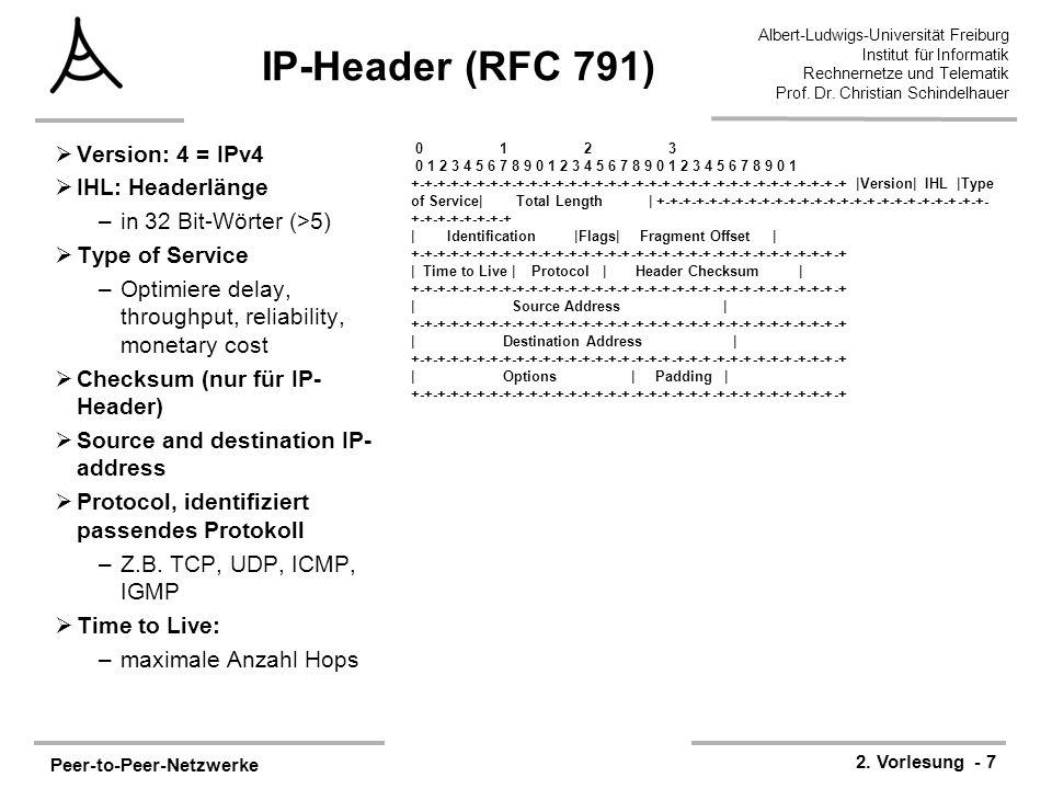 Peer-to-Peer-Netzwerke 2. Vorlesung - 7 Albert-Ludwigs-Universität Freiburg Institut für Informatik Rechnernetze und Telematik Prof. Dr. Christian Sch