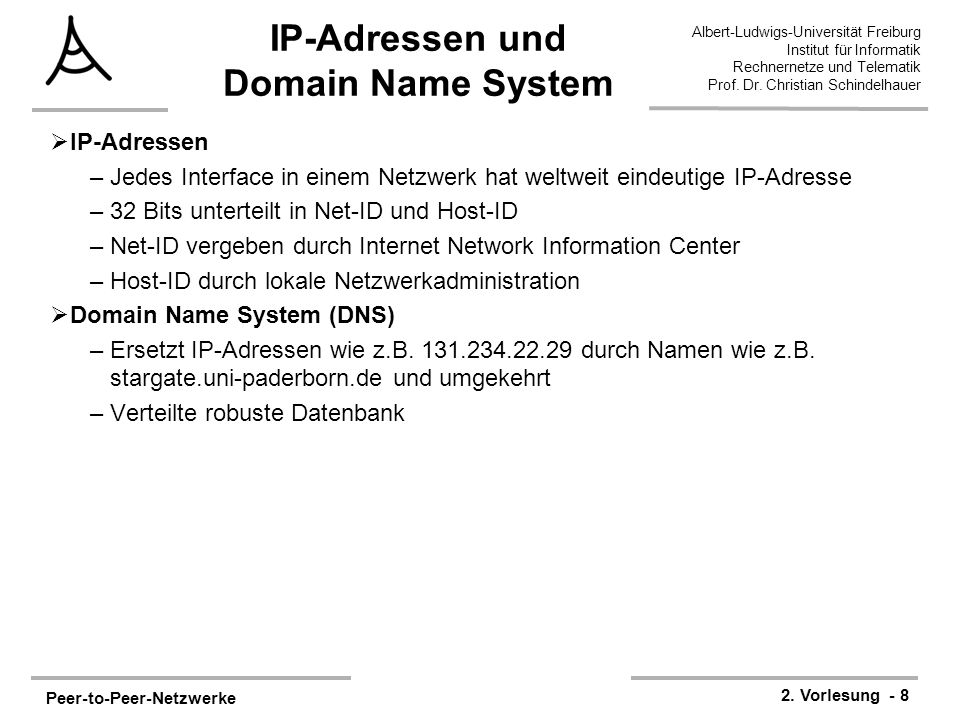 Peer-to-Peer-Netzwerke 2. Vorlesung - 8 Albert-Ludwigs-Universität Freiburg Institut für Informatik Rechnernetze und Telematik Prof. Dr. Christian Sch