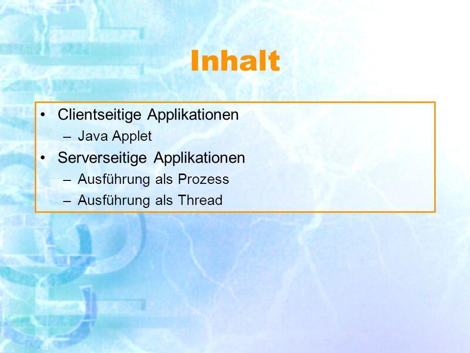 Inhalt Clientseitige Applikationen –Java Applet Serverseitige Applikationen –Ausführung als Prozess –Ausführung als Thread