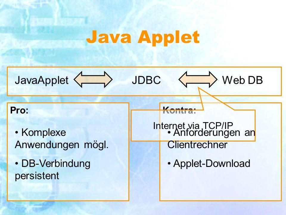 Pro:Kontra: Java Applet JDBCWeb DB Internet via TCP/IP Komplexe Anwendungen mögl.