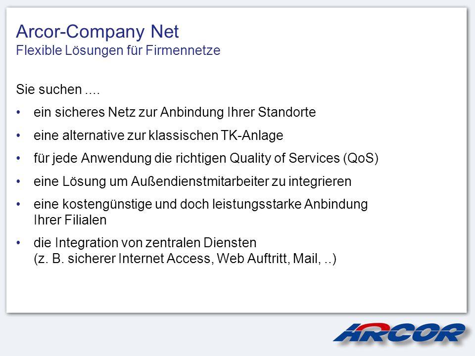 Arcor-Company Net Flexible Lösungen für Firmennetze Sie suchen.... ein sicheres Netz zur Anbindung Ihrer Standorte eine alternative zur klassischen TK