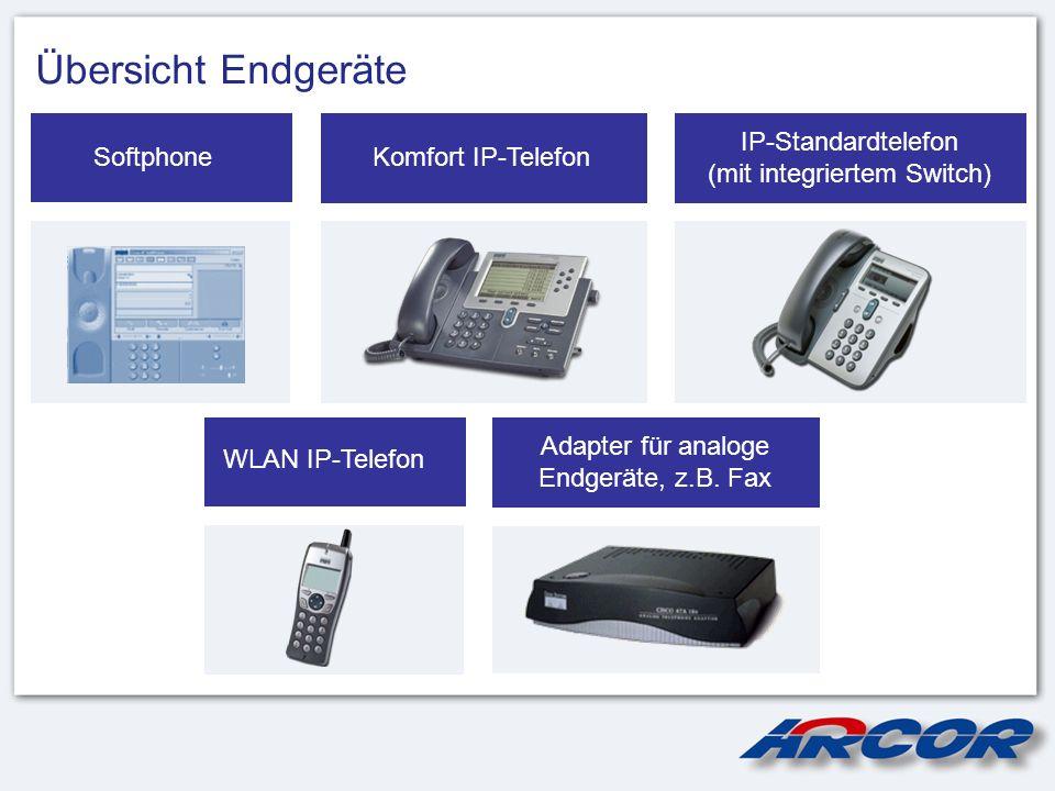 Übersicht Endgeräte IP-Standardtelefon (mit integriertem Switch) Komfort IP-TelefonSoftphone WLAN IP-Telefon Adapter für analoge Endgeräte, z.B. Fax