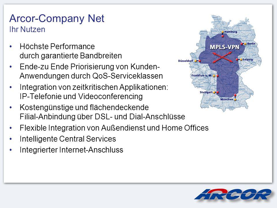 Arcor-Company Net Ihr Nutzen Höchste Performance durch garantierte Bandbreiten Ende-zu Ende Priorisierung von Kunden- Anwendungen durch QoS-Servicekla