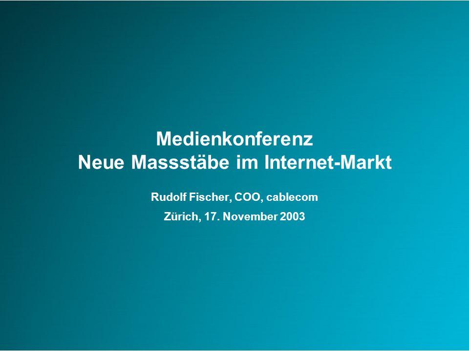 Agenda der Medienkonferenz Cablecom Meilensteine 2003 und Ausblick 2004 Cablecom setzt neue Massstäbe im Breitband-Internet-Markt Beispiele für Download- und Upload-Raten Fragen und Antworten