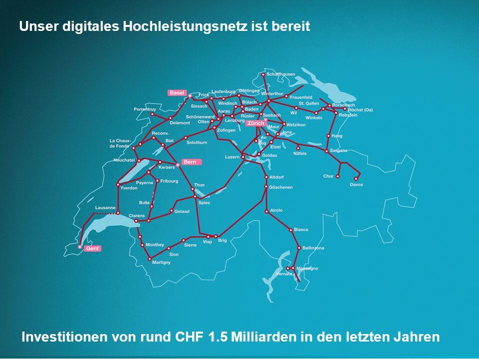 Unser digitales Hochleistungsnetz ist bereit Investitionen von rund CHF 1.5 Milliarden in den letzten Jahren