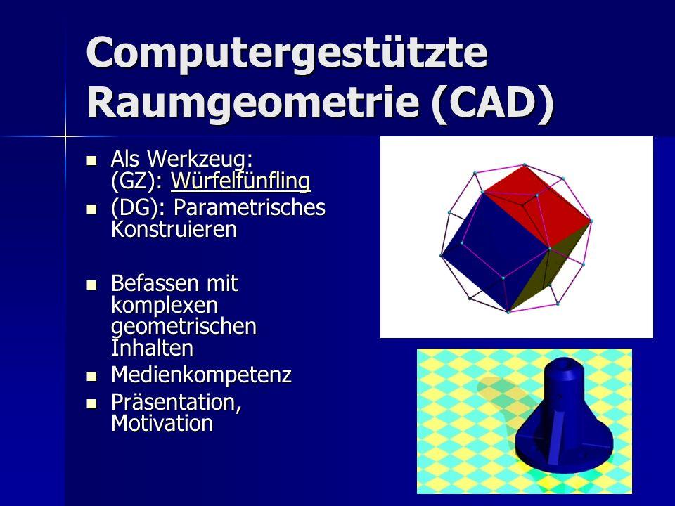Computergestützte Raumgeometrie (CAD) Als Werkzeug: (GZ): Würfelfünfling Als Werkzeug: (GZ): WürfelfünflingWürfelfünfling (DG): Parametrisches Konstruieren (DG): Parametrisches Konstruieren Befassen mit komplexen geometrischen Inhalten Befassen mit komplexen geometrischen Inhalten Medienkompetenz Medienkompetenz Präsentation, Motivation Präsentation, Motivation