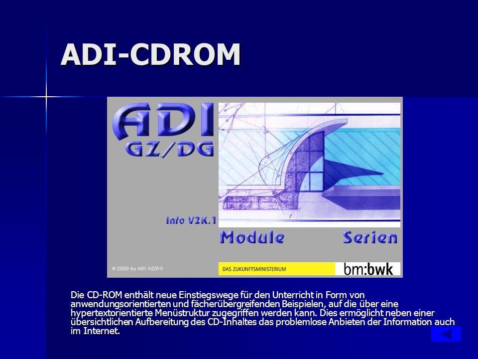 ADI-CDROM Die CD-ROM enthält neue Einstiegswege für den Unterricht in Form von anwendungsorientierten und fächerübergreifenden Beispielen, auf die über eine hypertextorientierte Menüstruktur zugegriffen werden kann.