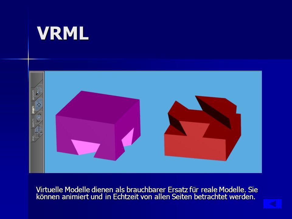 VRML Virtuelle Modelle dienen als brauchbarer Ersatz für reale Modelle. Sie können animiert und in Echtzeit von allen Seiten betrachtet werden.