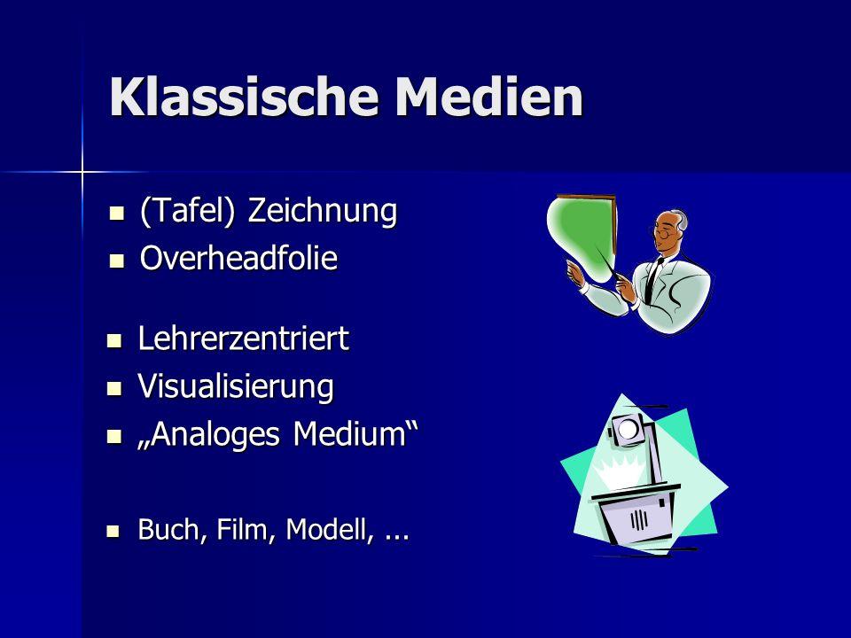 Klassische Medien (Tafel) Zeichnung (Tafel) Zeichnung Overheadfolie Overheadfolie Lehrerzentriert Lehrerzentriert Visualisierung Visualisierung Analog