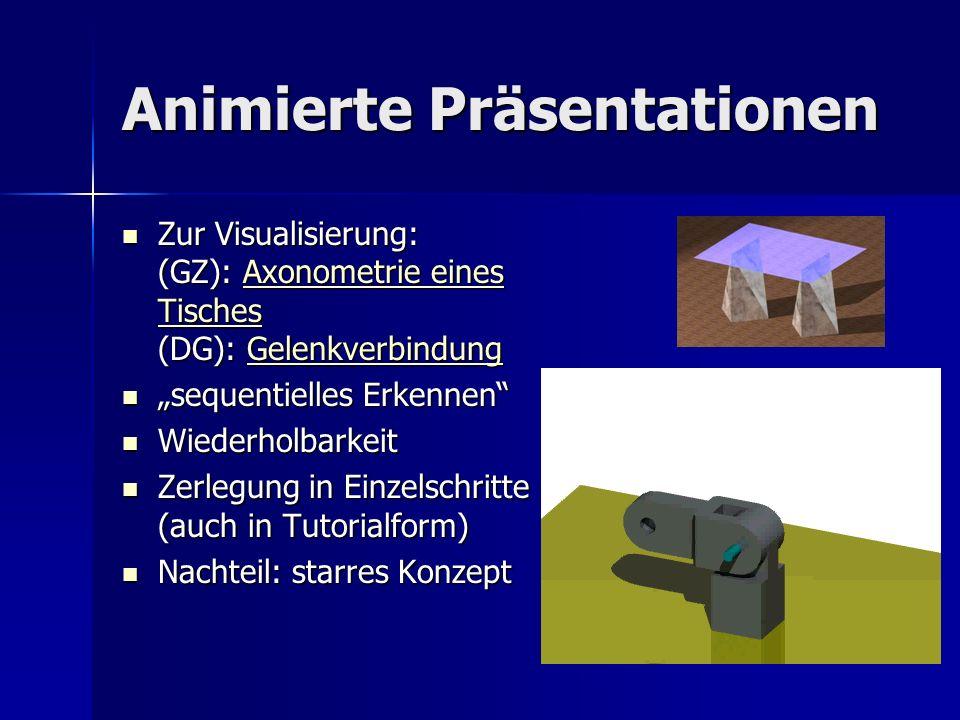 Animierte Präsentationen Zur Visualisierung: (GZ): Axonometrie eines Tisches (DG): Gelenkverbindung Zur Visualisierung: (GZ): Axonometrie eines Tische