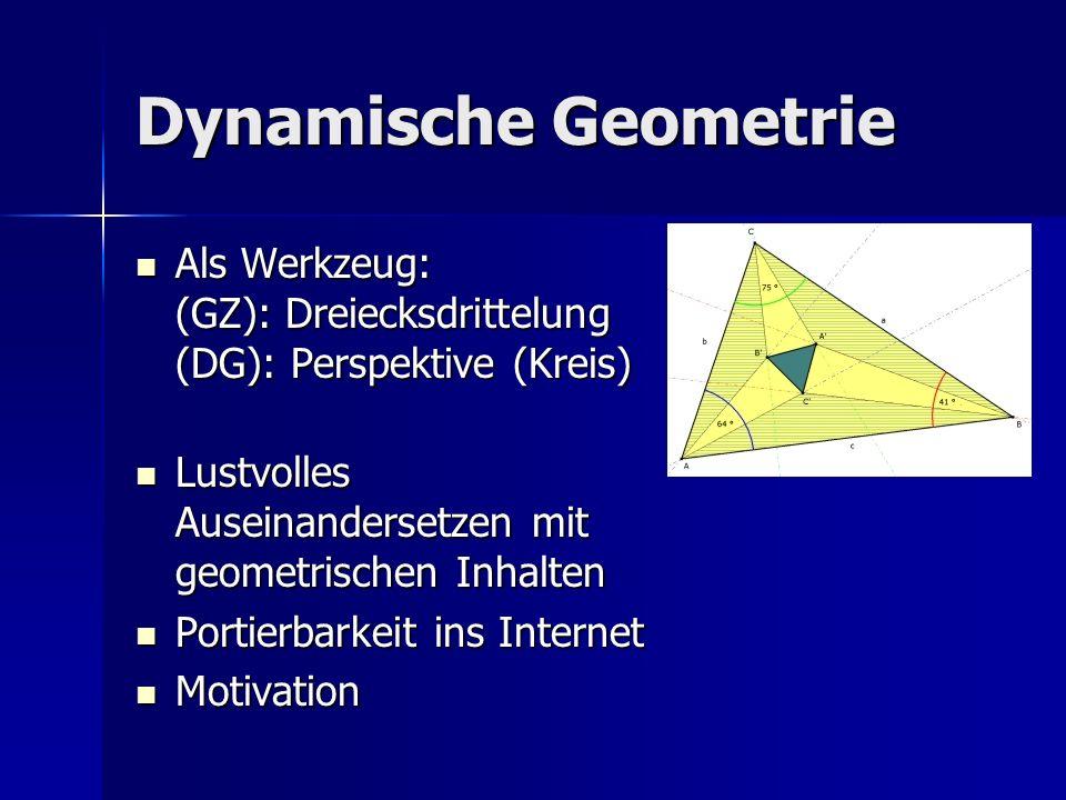 Dynamische Geometrie Als Werkzeug: (GZ): Dreiecksdrittelung (DG): Perspektive (Kreis) Als Werkzeug: (GZ): Dreiecksdrittelung (DG): Perspektive (Kreis) Lustvolles Auseinandersetzen mit geometrischen Inhalten Lustvolles Auseinandersetzen mit geometrischen Inhalten Portierbarkeit ins Internet Portierbarkeit ins Internet Motivation Motivation