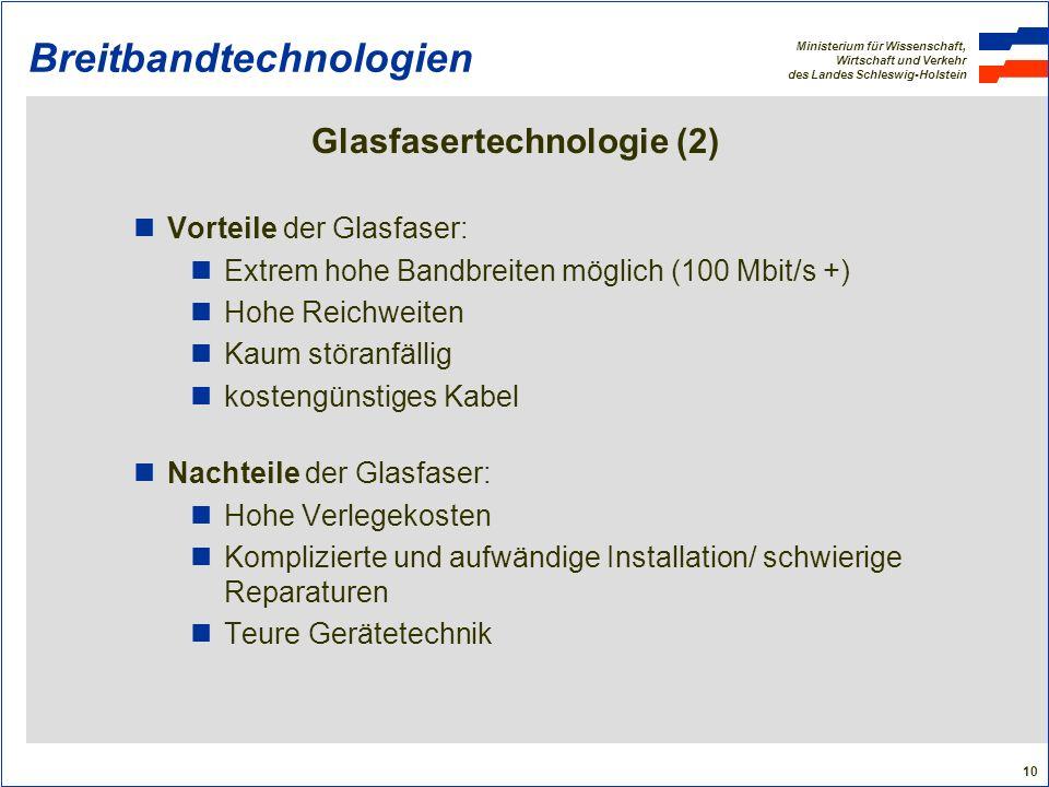 Ministerium für Wissenschaft, Wirtschaft und Verkehr des Landes Schleswig-Holstein 10 Breitbandtechnologien Glasfasertechnologie (2) Vorteile der Glas