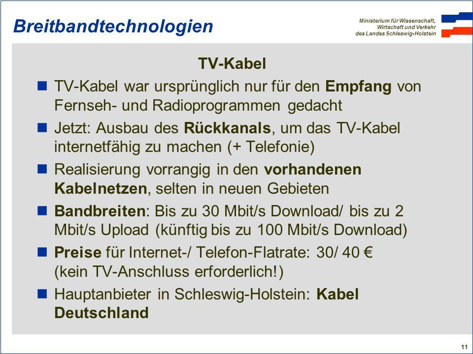 Ministerium für Wissenschaft, Wirtschaft und Verkehr des Landes Schleswig-Holstein 11 Breitbandtechnologien TV-Kabel TV-Kabel war ursprünglich nur für