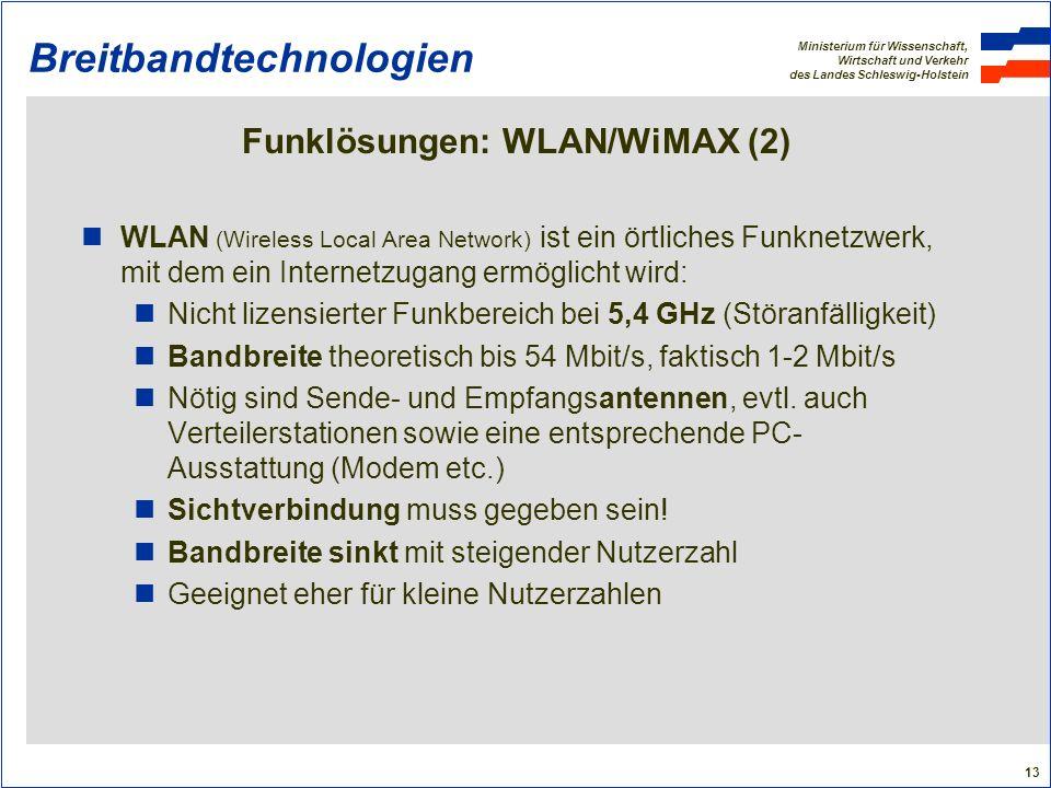 Ministerium für Wissenschaft, Wirtschaft und Verkehr des Landes Schleswig-Holstein 13 Breitbandtechnologien Funklösungen: WLAN/WiMAX (2) WLAN (Wireles