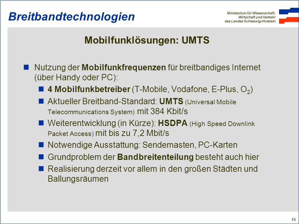 Ministerium für Wissenschaft, Wirtschaft und Verkehr des Landes Schleswig-Holstein 15 Breitbandtechnologien Mobilfunklösungen: UMTS Nutzung der Mobilf