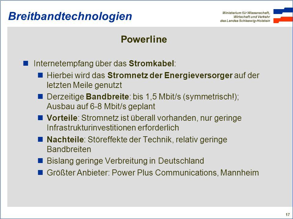 Ministerium für Wissenschaft, Wirtschaft und Verkehr des Landes Schleswig-Holstein 17 Breitbandtechnologien Powerline Internetempfang über das Stromka