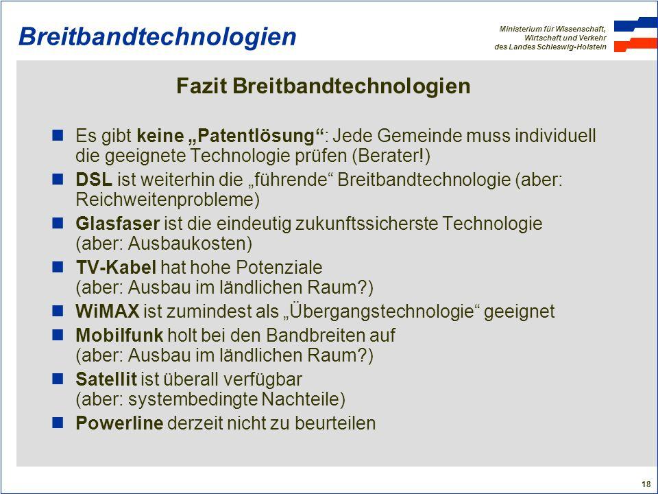 Ministerium für Wissenschaft, Wirtschaft und Verkehr des Landes Schleswig-Holstein 18 Breitbandtechnologien Fazit Breitbandtechnologien Es gibt keine