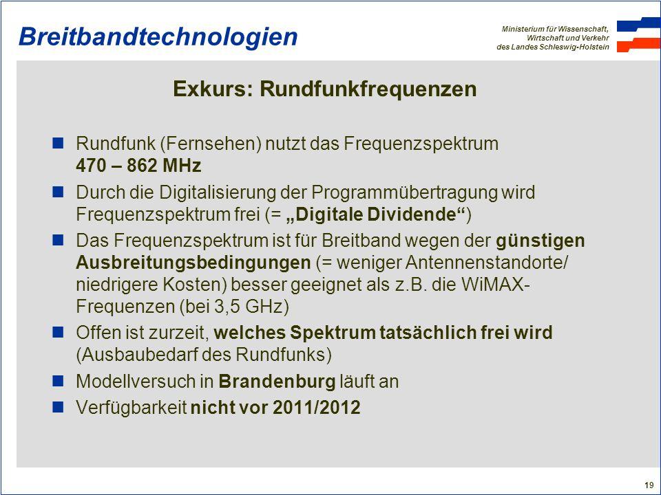 Ministerium für Wissenschaft, Wirtschaft und Verkehr des Landes Schleswig-Holstein 19 Breitbandtechnologien Exkurs: Rundfunkfrequenzen Rundfunk (Ferns
