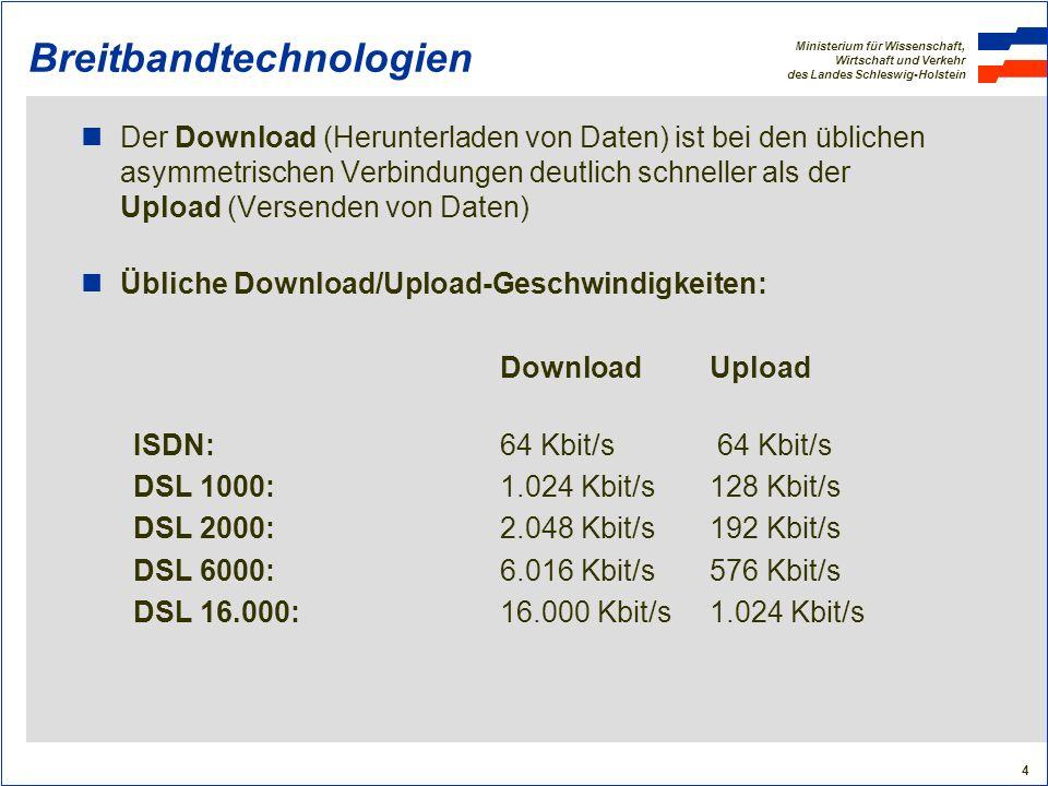 Ministerium für Wissenschaft, Wirtschaft und Verkehr des Landes Schleswig-Holstein 15 Breitbandtechnologien Mobilfunklösungen: UMTS Nutzung der Mobilfunkfrequenzen für breitbandiges Internet (über Handy oder PC): 4 Mobilfunkbetreiber (T-Mobile, Vodafone, E-Plus, O 2 ) Aktueller Breitband-Standard: UMTS (Universal Mobile Telecommunications System) mit 384 Kbit/s Weiterentwicklung (in Kürze): HSDPA (High Speed Downlink Packet Access) mit bis zu 7,2 Mbit/s Notwendige Ausstattung: Sendemasten, PC-Karten Grundproblem der Bandbreitenteilung besteht auch hier Realisierung derzeit vor allem in den großen Städten und Ballungsräumen