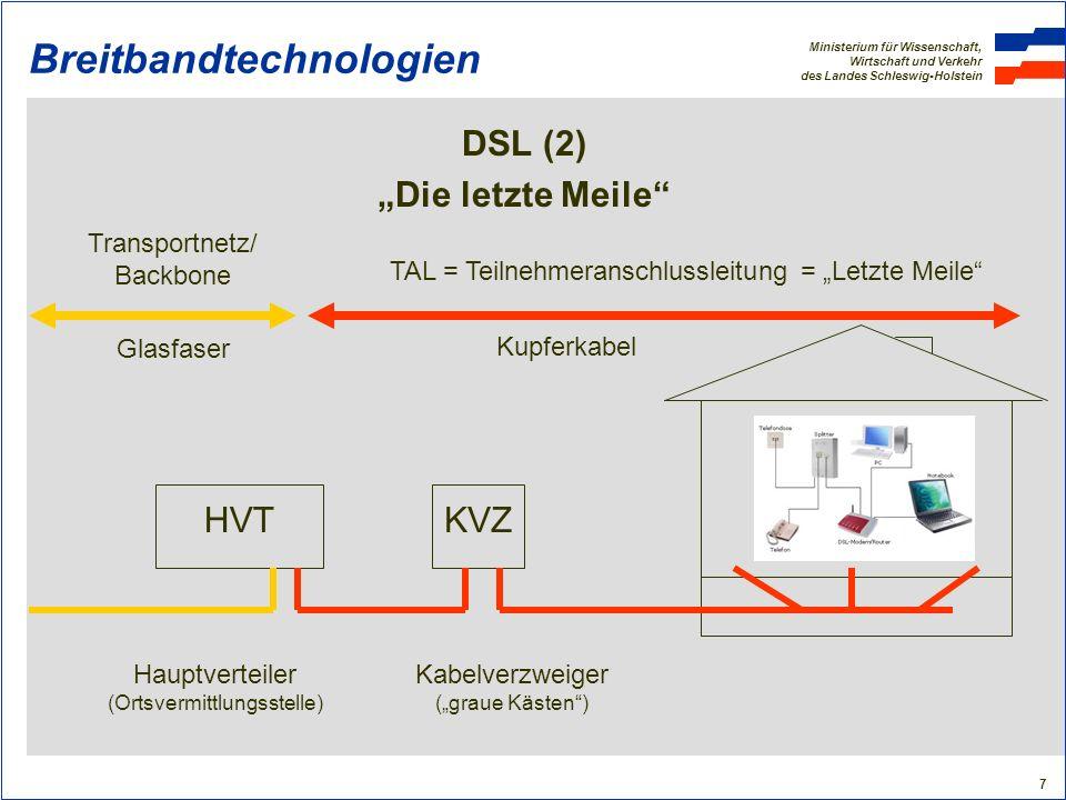 Ministerium für Wissenschaft, Wirtschaft und Verkehr des Landes Schleswig-Holstein 18 Breitbandtechnologien Fazit Breitbandtechnologien Es gibt keine Patentlösung: Jede Gemeinde muss individuell die geeignete Technologie prüfen (Berater!) DSL ist weiterhin die führende Breitbandtechnologie (aber: Reichweitenprobleme) Glasfaser ist die eindeutig zukunftssicherste Technologie (aber: Ausbaukosten) TV-Kabel hat hohe Potenziale (aber: Ausbau im ländlichen Raum?) WiMAX ist zumindest als Übergangstechnologie geeignet Mobilfunk holt bei den Bandbreiten auf (aber: Ausbau im ländlichen Raum?) Satellit ist überall verfügbar (aber: systembedingte Nachteile) Powerline derzeit nicht zu beurteilen