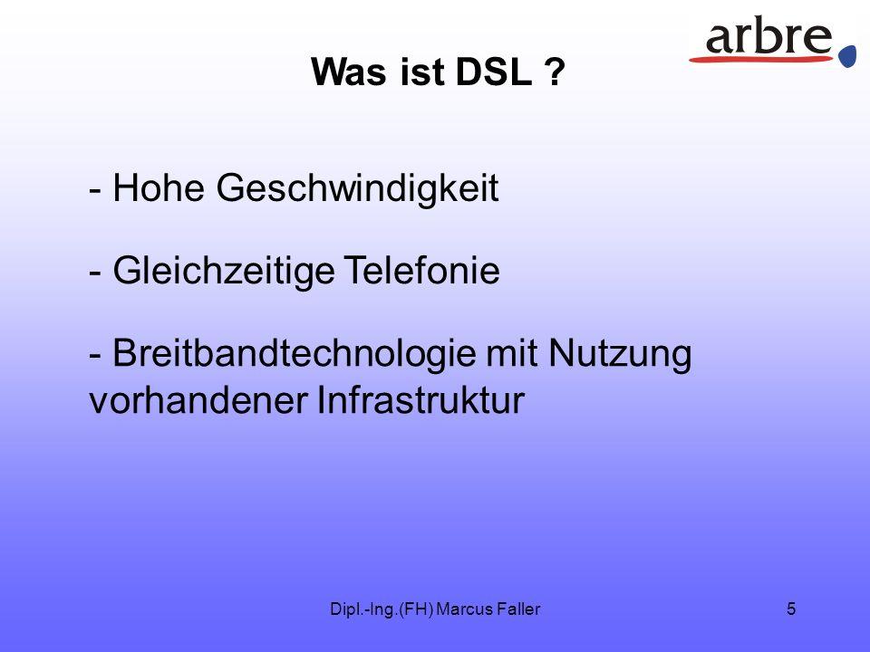 Dipl.-Ing.(FH) Marcus Faller15 DSL Vielen Dank für Ihre Aufmerksamkeit. Marcus Faller